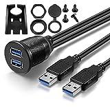 USB Panel Flush Mount Cable - Bolongking Length 1 m/3.3 Ft USB 3.0 Extension Dual Mount, Dashboard Mount, Flush Mount, Panel Mount USB Cable, for car, boat, motorcycle
