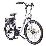 NCM Munich 36V, 26' / 28' Zoll Elektrofahrrad, Herren & Damen Pedelec, E-Bike City Rad, 250W Bafang Heckmotor, 13Ah 468Wh Lithium-Ionen-Akku, mechanische Scheibenbremsen (26' in Weiß)