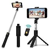 SYOSIN Selfie Stick Stativ, 3 in 1 Mini Selfiestick mit Bluetooth-Fernauslöse Handy Erweiterbarer Selfie-Stange und Tragbar Monopod Handyhalter für iPhone/Samsung/Huawei IOS und Android