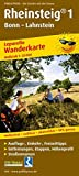 Rheinsteig® 1, Bonn - Lahnstein: Leporello Wanderkarte mit Ausflugszielen,...