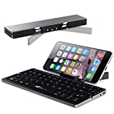 Faltbare Bluetooth Tastatur, EC Technology QWERTZ Layout Kleine Faltbar Keyboard, Mini Falttastatur mit Stand Kompatibel mit Android/Windows/IOS Handy Smartphone Tablet iPad Huawei Samsung Galaxy