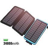 FEELLE Solar Ladegerät Powerbank 24000mAh wasserdicht Power Bank with 3 Solarzellen für iPhone, iPad, Samsung, Huawei und andere Geräte (Blau 24000mAh)