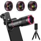 Handy Objektiv Kamera Linse Kit, 4 in 1 Universal 22X Teleobjektiv + 0,62X Weitwinkel + 25X Makro + 235° Fisheye Objektiv mit Stativ für IOS und meisten Android Smartphone