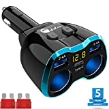 USB C Auto Ladegerät Zigarettenanzünder Verteiler Adapter Splitter Typ C KFZ Ladegerät 2 Fach Steckdose 12V/24V DC 80W mit LED Voltmeter Schalter Dual USB für Handy Tablet GPS Dash Kamera