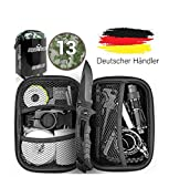 Jungle Monkey Premium Survival Kit [13er Set] - Mit hochwertigem Messer - Inklusive Taschenlampe mit Fokus Funktion - Wanderzubehör mit Verbandszeug - Optimal für Wandern und Camping