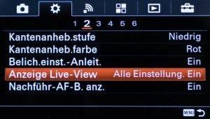 Sony Alpha 6000 Einstellungen für LiveView