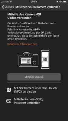 ImagingEdge - QR-Scode auf Kamera scannen
