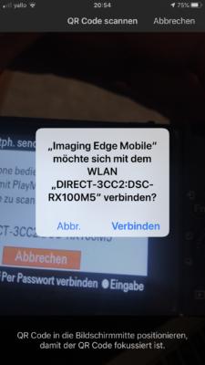 ImagingEdge App Kamera verbinden