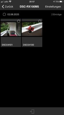 ImagingEdge App - Detailübersicht der Bilder