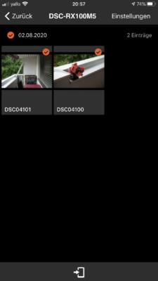 Imaging Edge App - Bilder der Kamera auswählen