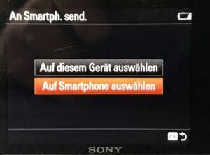Menüeinstellung um Bilder auf einer Sony-Kamera an das Smartphone zu senden