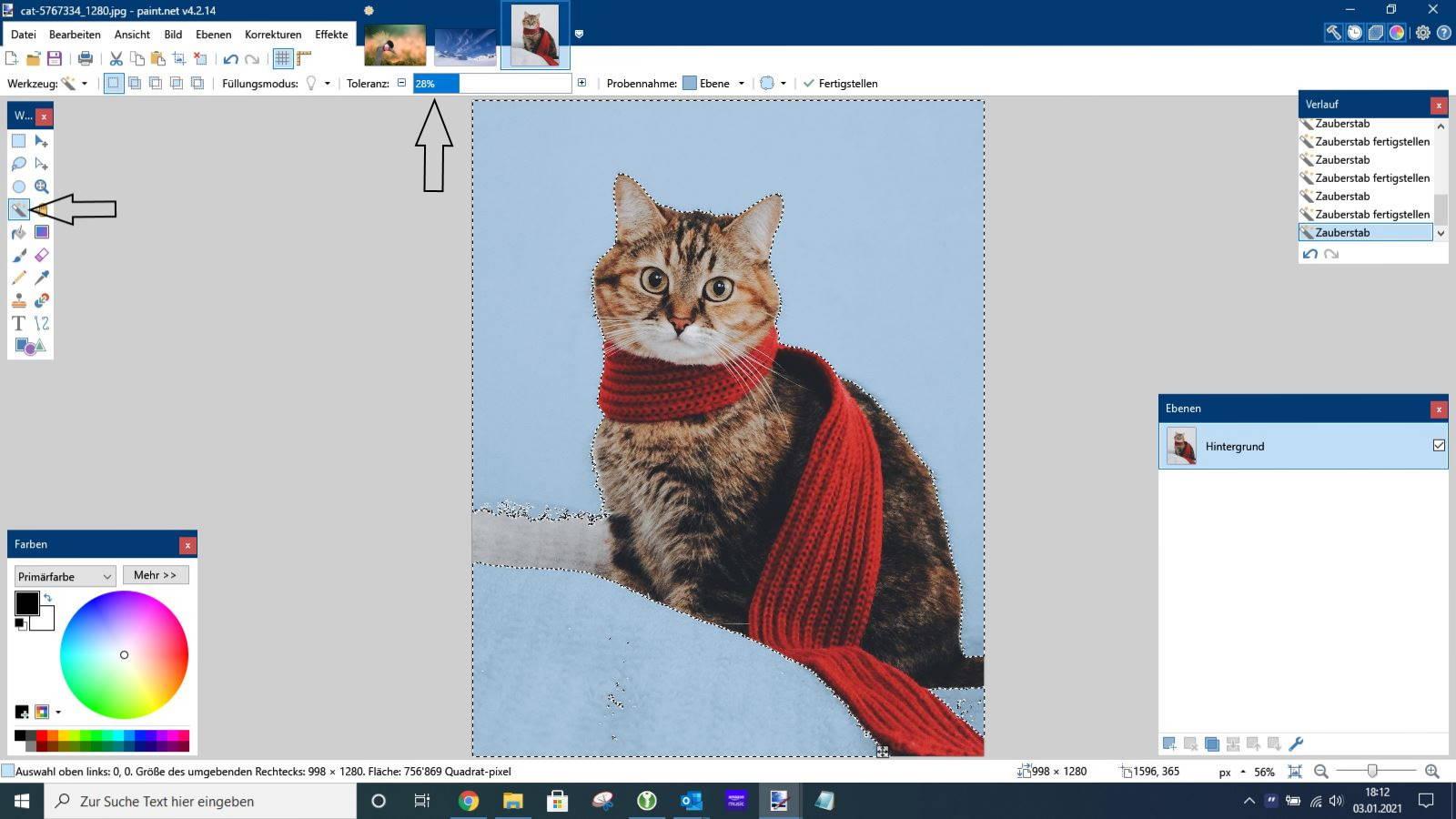 Paint.NET Arbeiten mit dem Zauberstab