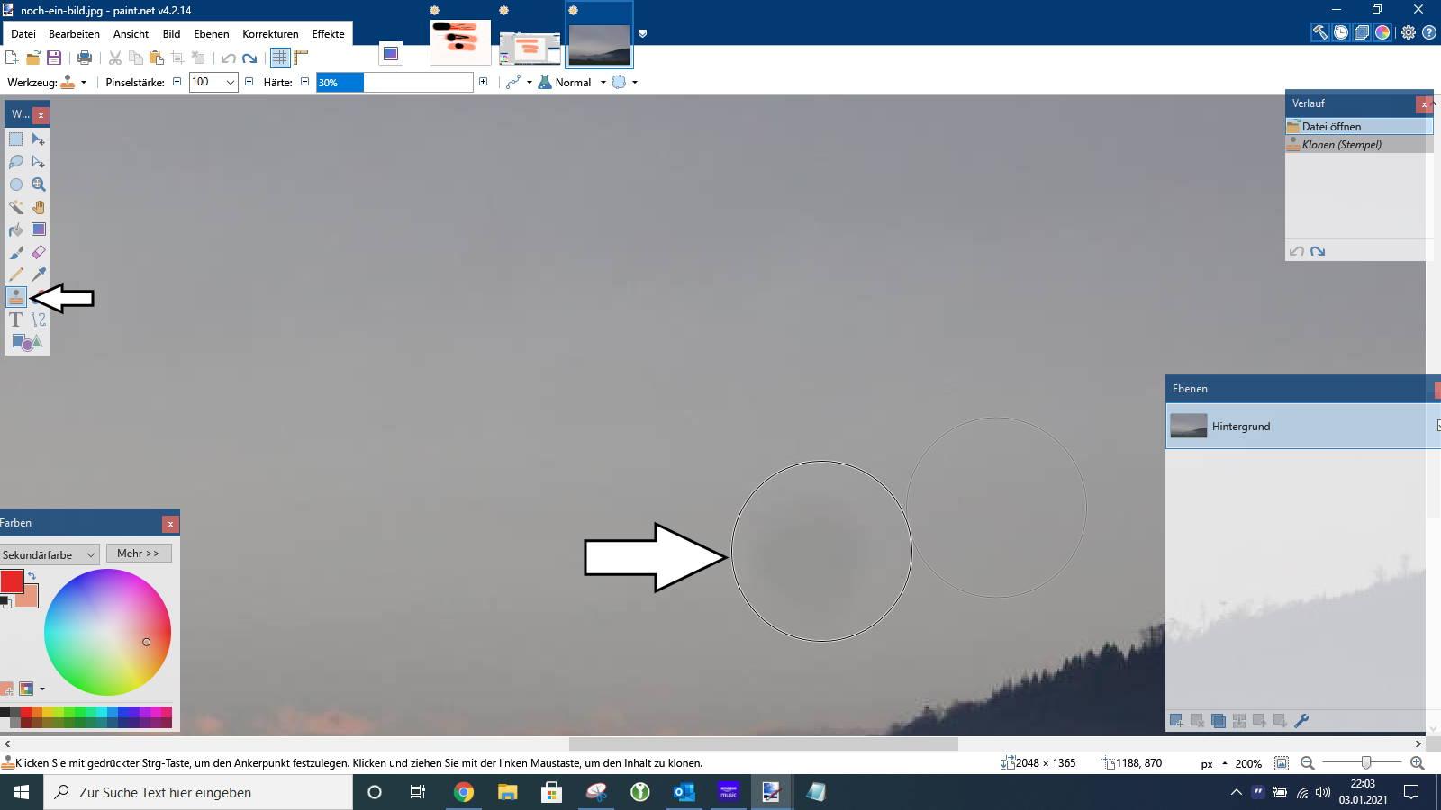 Paint.NET mit Klon-Werkzeug Fleck entfernen
