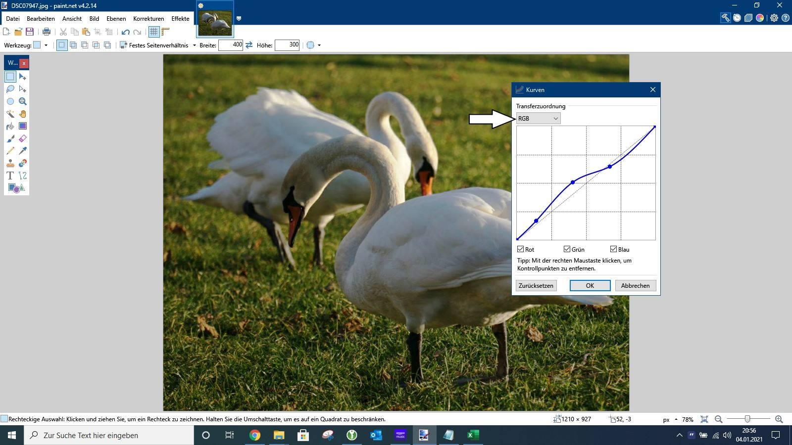 Paint.NET Kurven anpassen
